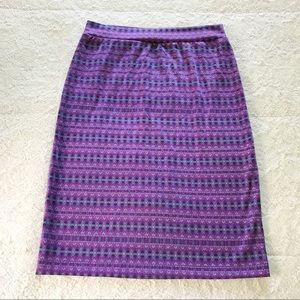 Renee C. Geometric Purple Skirt